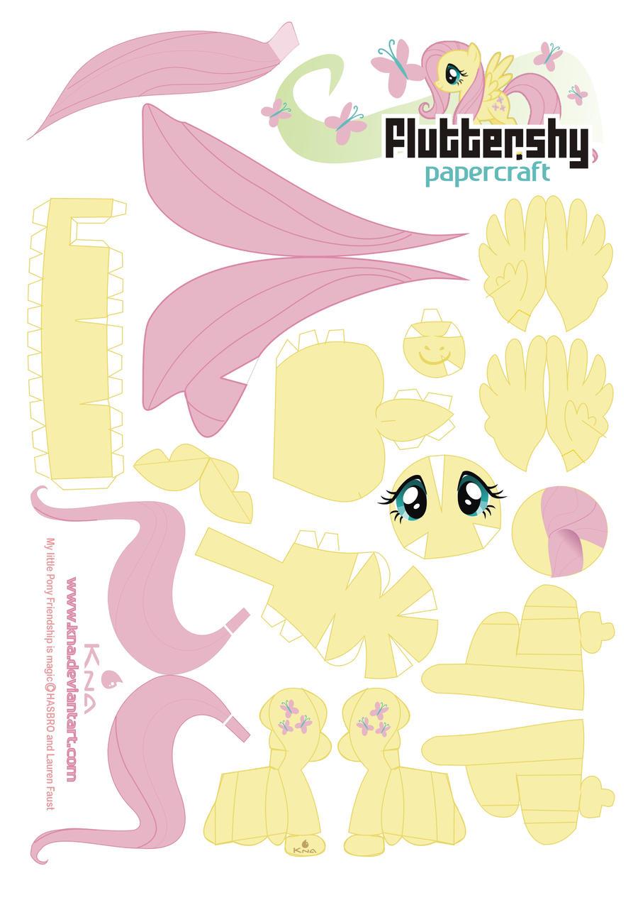 Fluttershy Papercraft by Kna
