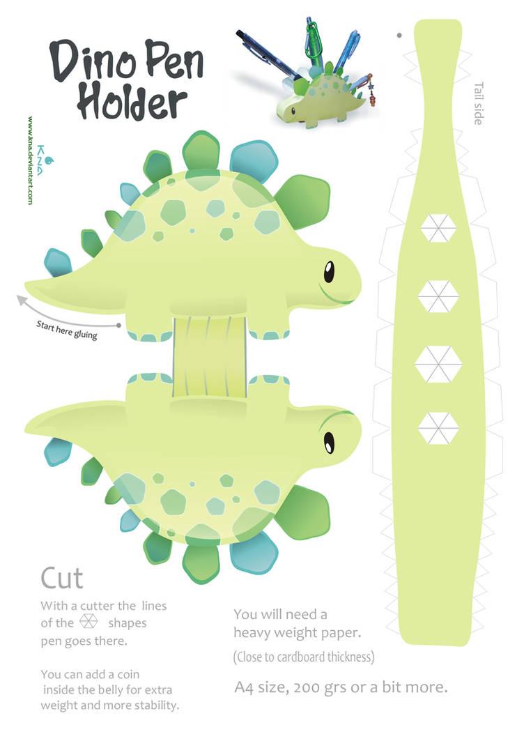 Dino Pen Holder Papercraft by Kna
