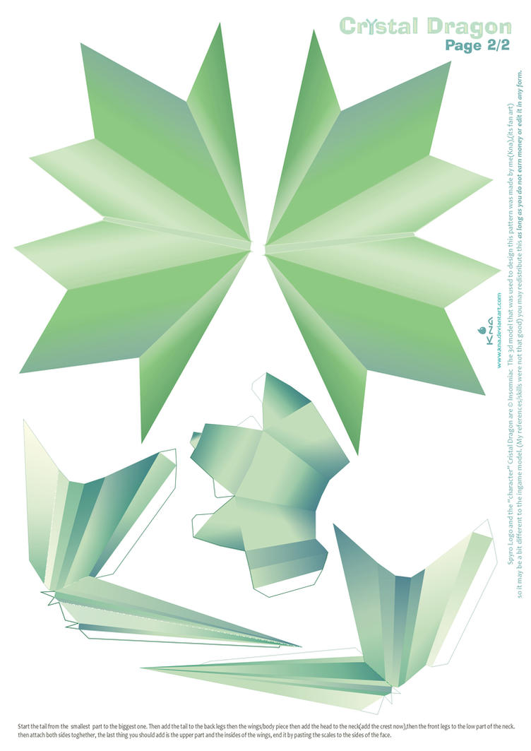 Crystal Dragon Statue Papercraft pattern02 by Kna