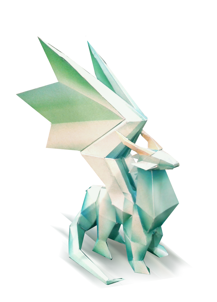 Crystal Dragon Papercraft Statue