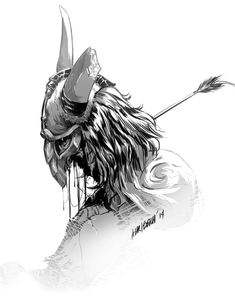 Zombie Viking black and white by AtariBetch