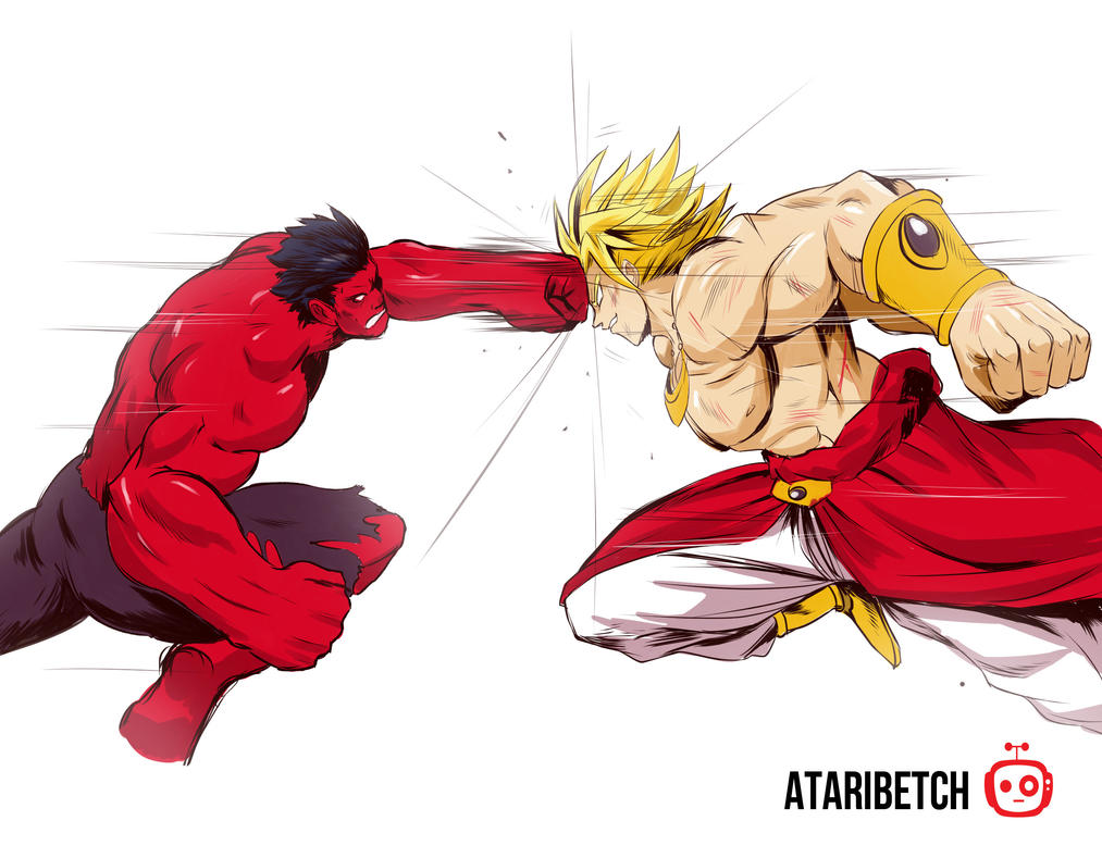 Red Hulk vs Broli by AtariBetch