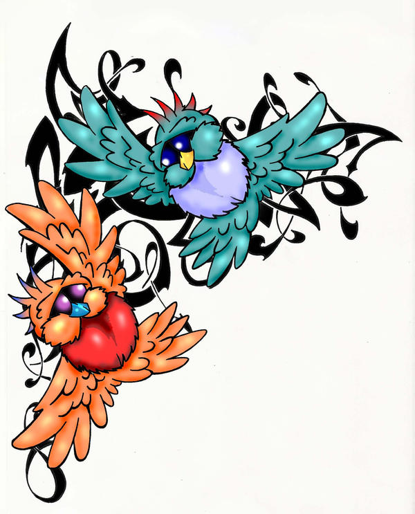 Love birds - shoulder tattoo