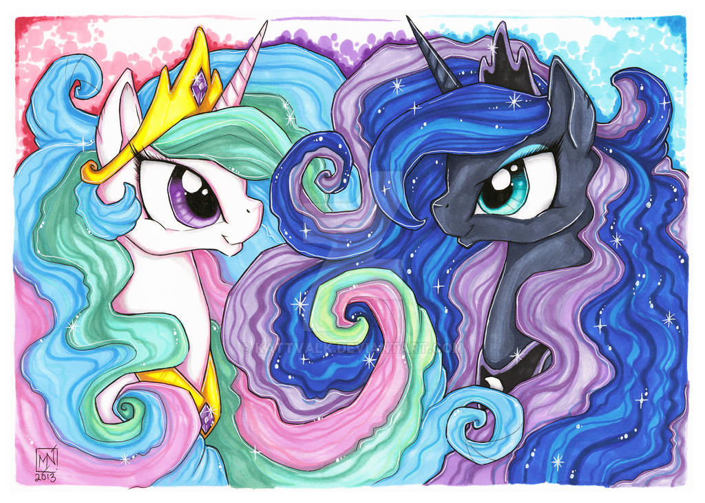 Two sisters: Celestia and Luna