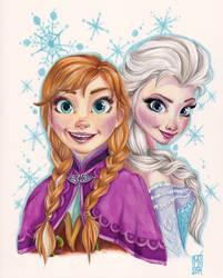 Anna and Elsa - Frozen by Kattvalk