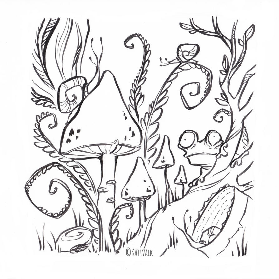 Stranger Worlds Free Coloring Page by Kattvalk