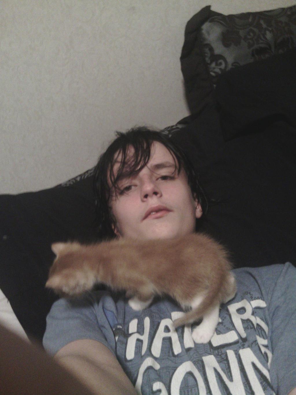 Me and my kitten, Charlie by MOTLEYLOMBAXCRUE666