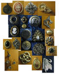 Assorted buttons and jewelry