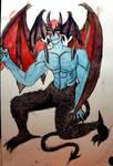 Devilman watercolor illustration