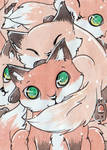ACEO 145 - Fox Pile by Pumpkin-Cat