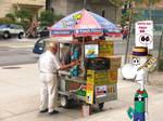 Zurp at hotdog stand