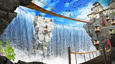 Paradise falls - Matte Painting by Chocovanille