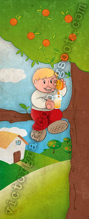 Kid with orange juice by victorgrafico