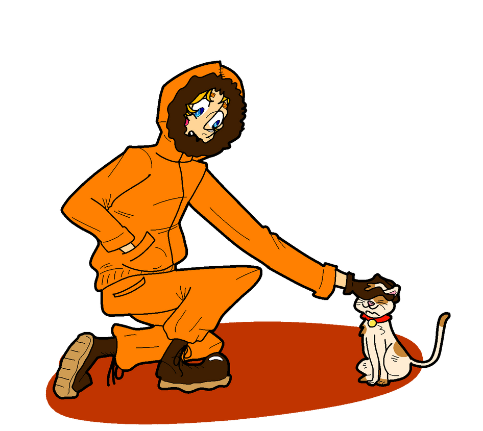 kenny petting a cat by marmite-is-cool