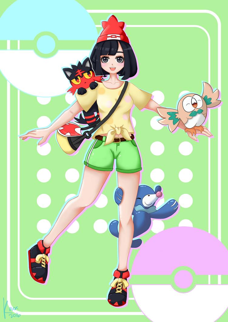 Pokemon Sun and Moon female protagonist by foxieknox
