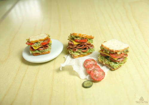 1:12 miniature sandwiches from polymer clay