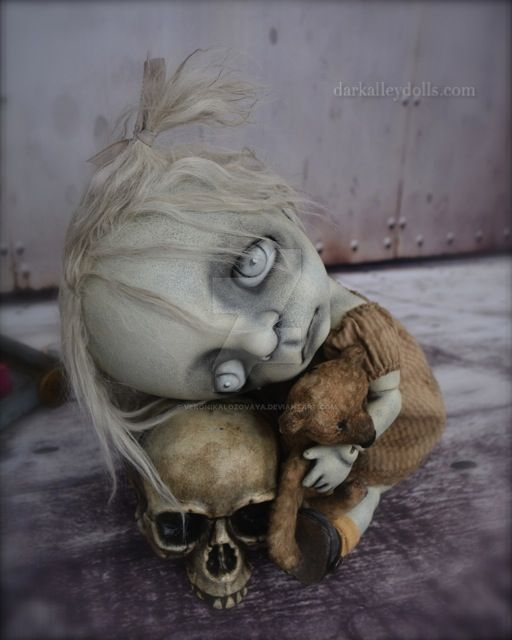 Dark Alley Art Doll Poppy  Broken Flowers series by VeronikaLozovaya