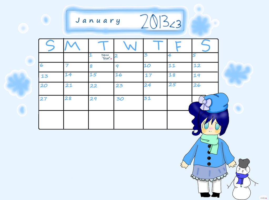 2013 Calendar- January-chan by SilverCelestt777