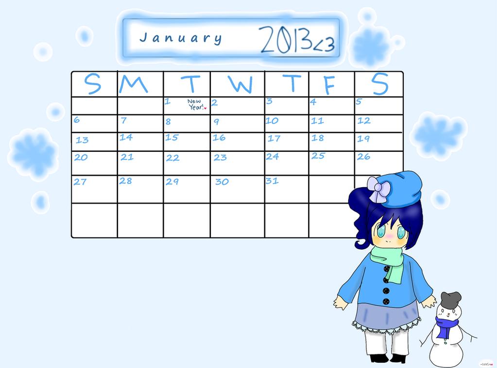 2013 Calendar- January-chan by SilverCelestt777