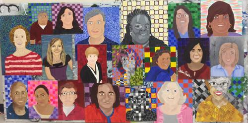 Students mural of Teacher Portraits by mrkozak