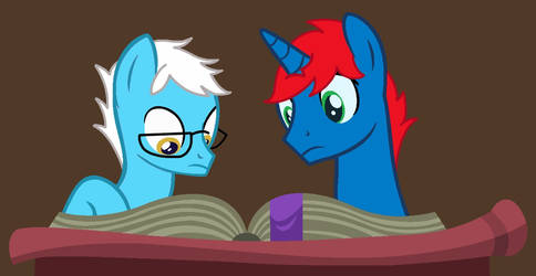 Train and Pencil reading a dictionary by Ry-BluePony1