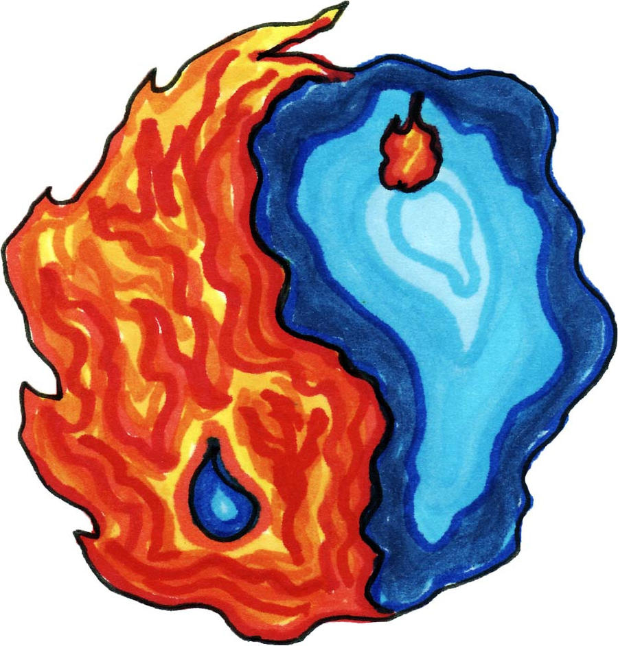 Fire and Water Yin Yang by spookylittlegirl