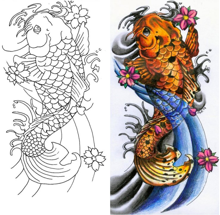 Japanese koi fish tattoo flash male models picture for Pictures of japanese koi fish