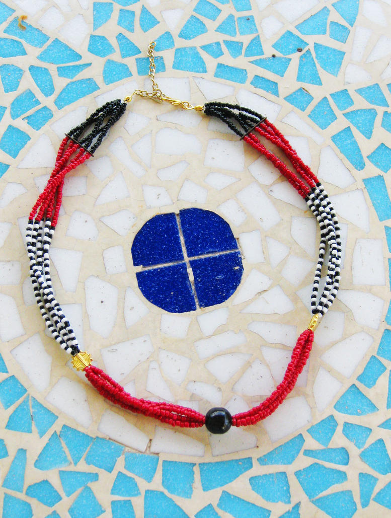 Multistrand Necklace with Striped Pattern by pestenkerani