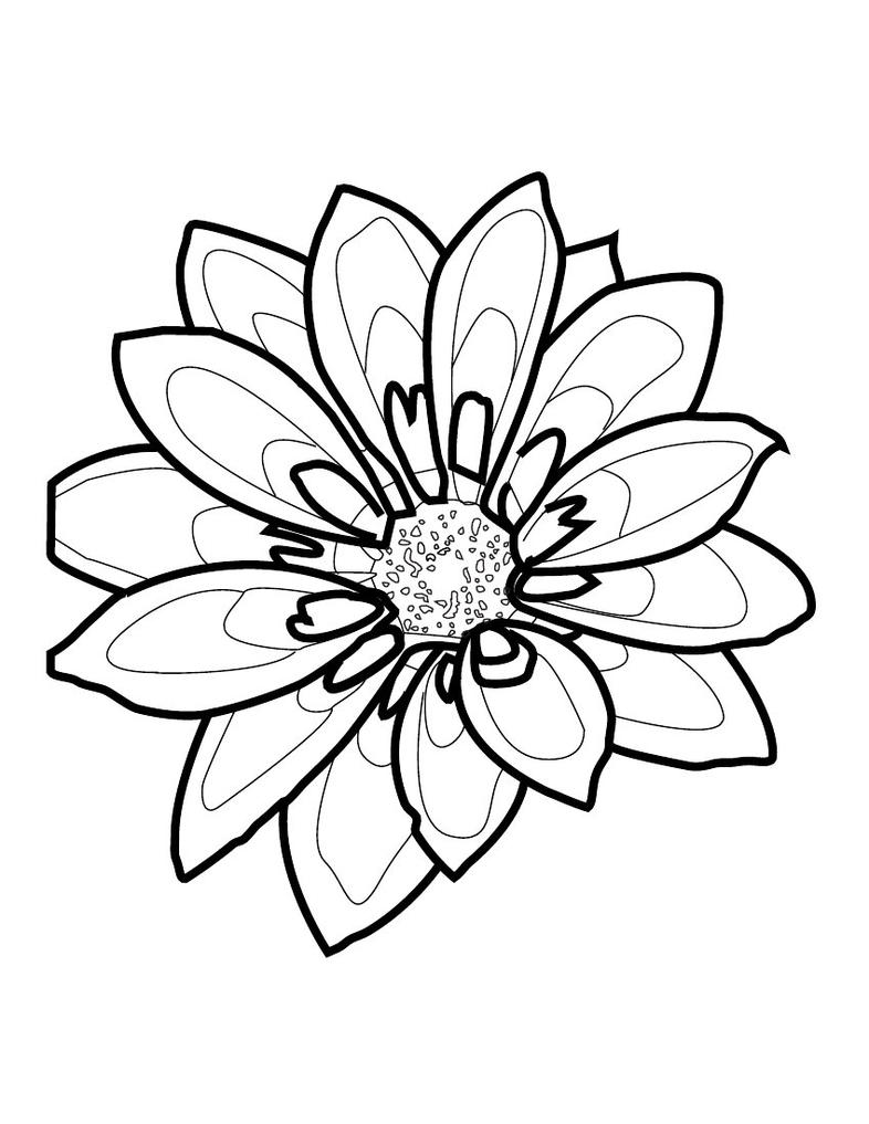Out Line Drawing Flowers : Simple flower outline