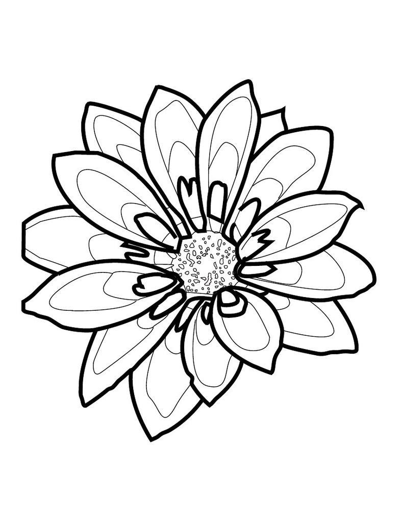 Flower Outline Drawing : Simple flower outline