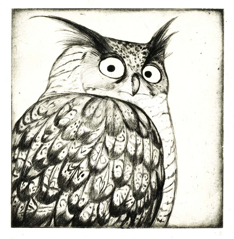 eagle owl etching by Nenu