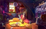 The Happy Hippy bar and motel - Interior by XGingerWR