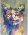 Cleo the happy cat oil painting