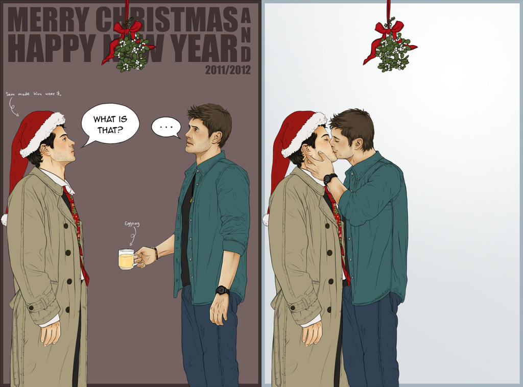 Supernatural - Christmas Card for Miggu by Kumagorochan