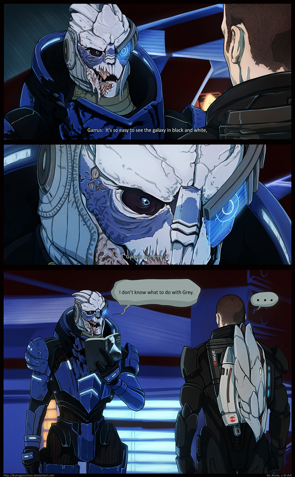 Mass Effect - I don't know what to do with Grey by Kumagorochan