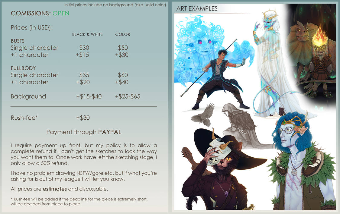 Commission Prices 2020