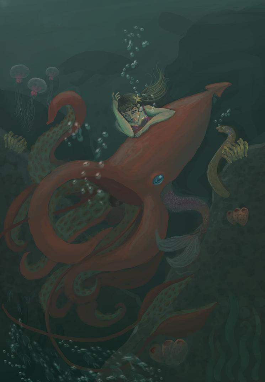 Sirena y Calamar by Acamayo