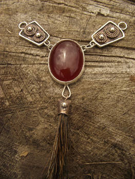 Celtic silver necklace with carneol and boar hair