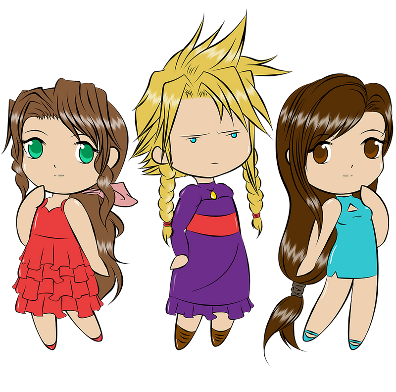 Aerith, Cloud and Tifa by Aizu-chan