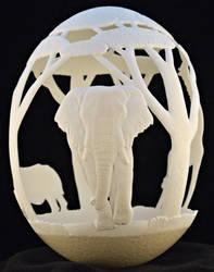Carved Ostrich egg - 'Africa' by eggdoodler