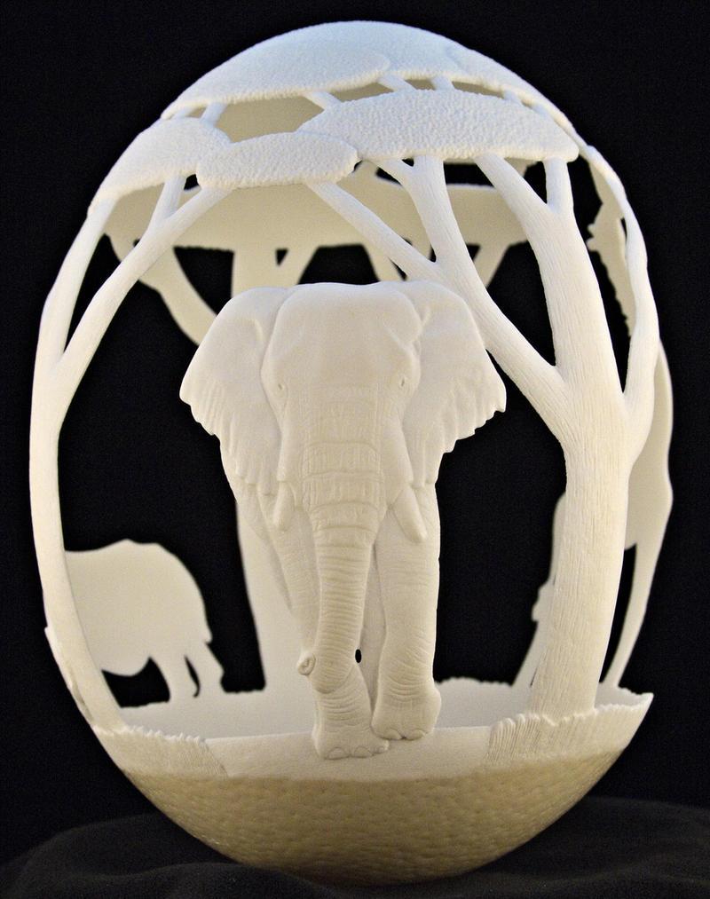 Carved Ostrich egg - 'Africa' by eggdoodler on DeviantArt