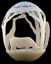 Carved Ostrich egg - 'Africa'