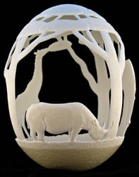Carved Ostrich egg - 'Africa'