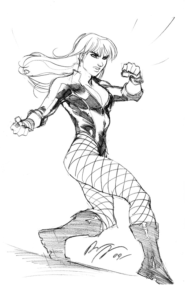 Black Canary Sketch NYCC'09 by rafaelalbuquerqueart