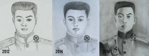 Graphite Portrait: Emilio Aguinaldo [Comparison] by DicoCalingal