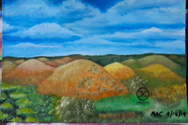 Painting: Chocolate Hills, Bohol, Philippines by DicoCalingal