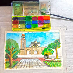Watercolor Painting: Manila Cathedral (WIP)