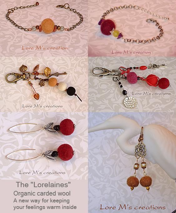 bijoux de laine, Lorelaines, jewels, Lore M