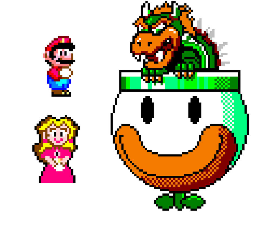 Pixel Mario, Peach And Bowser By Jack-0f-Diam0ndz On