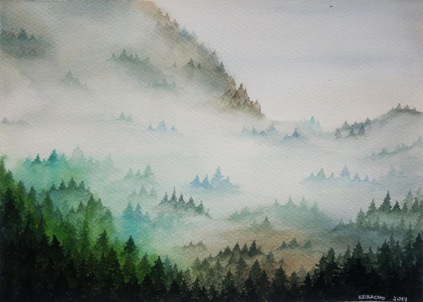 Fog in the forest by keiraono